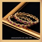 Stone Studded Silver Gold Plated Bangles