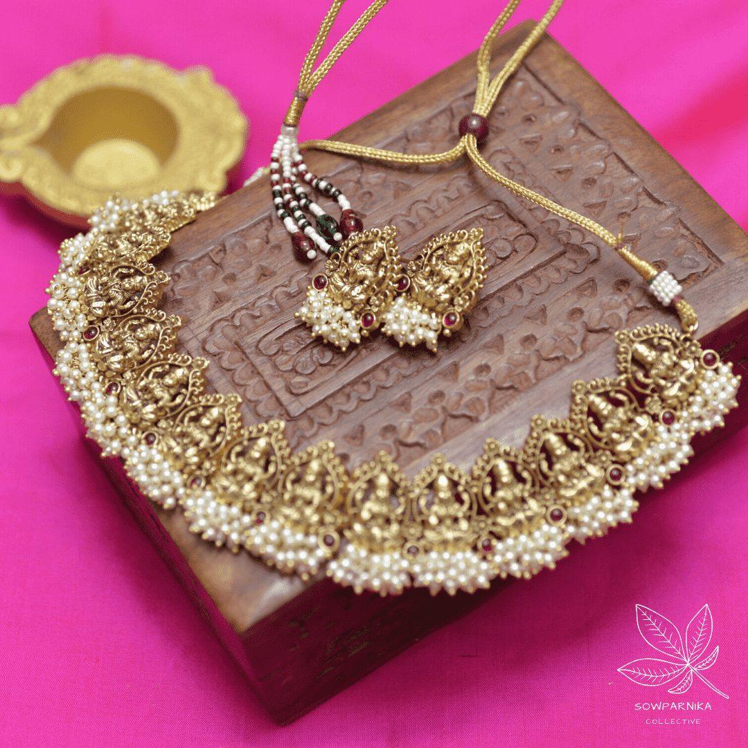 Beautiful-Maha-Lakshmi-Pearl-Cluster-High-Neck-Choker-01