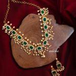 Emerald AD Square Designer Necklace Set