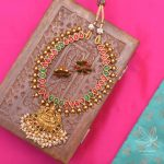 Red and Green Stone Lakshmi Pendant Necklace
