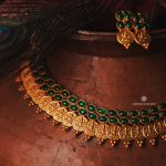 Traditional Matte Green Stone-Lakshmi-Coin-Necklace