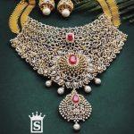 Diamond Bridal Choker Necklace and Jhumkas