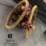 Gold Finish Ruby Studded Bangles