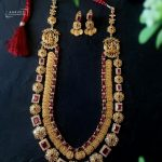 Gold Plated Lakshmi Haram With Ruby Stones