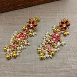 Gold Plated Silver Kundan Fish Design Earrings