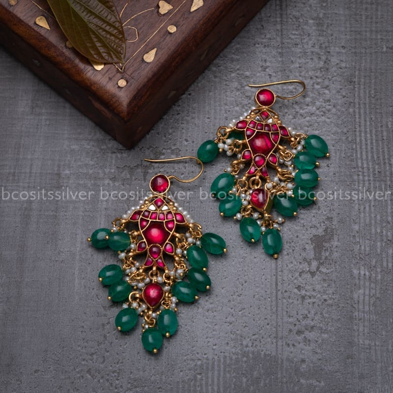 kundan-silver-earrings