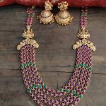 Lakshmi Kemp Layered Necklace Jhumkas