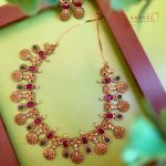 Matte Gold Finish Ram Parivar Coin Necklace Set