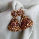 Peacock Design Kemp Jhumkas