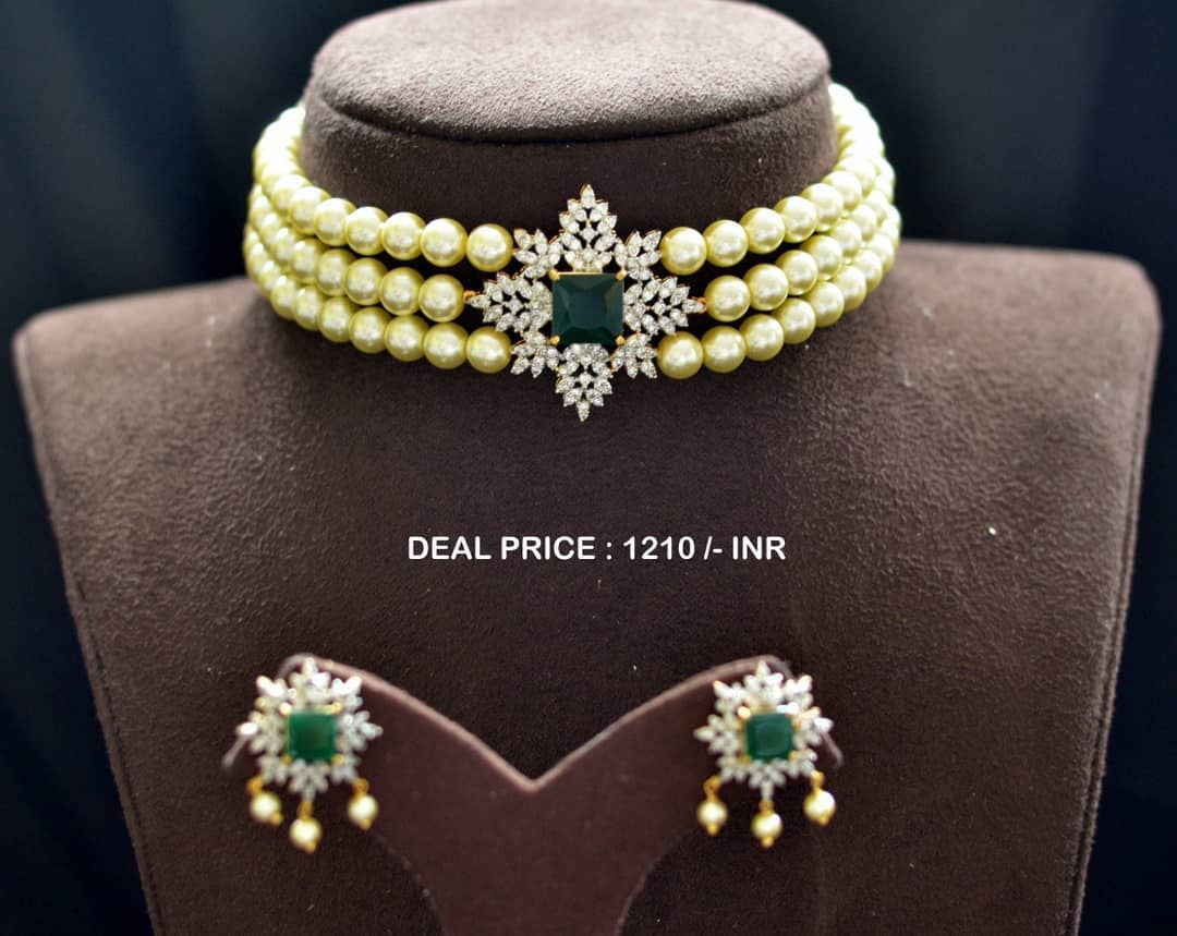 pearl-american-diamond-choker-set