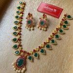 Red And Green Gold Finish Necklace Set