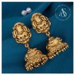 Gold Plated Silver Semi Precious Gemstones Studded Jhumkas