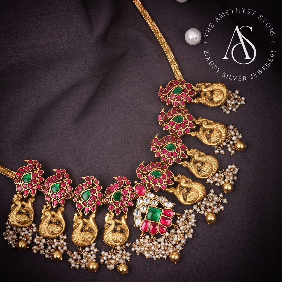 silver-kundan-peacock-design-necklace