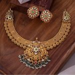 Antique Gold Necklace With Stud Earrings