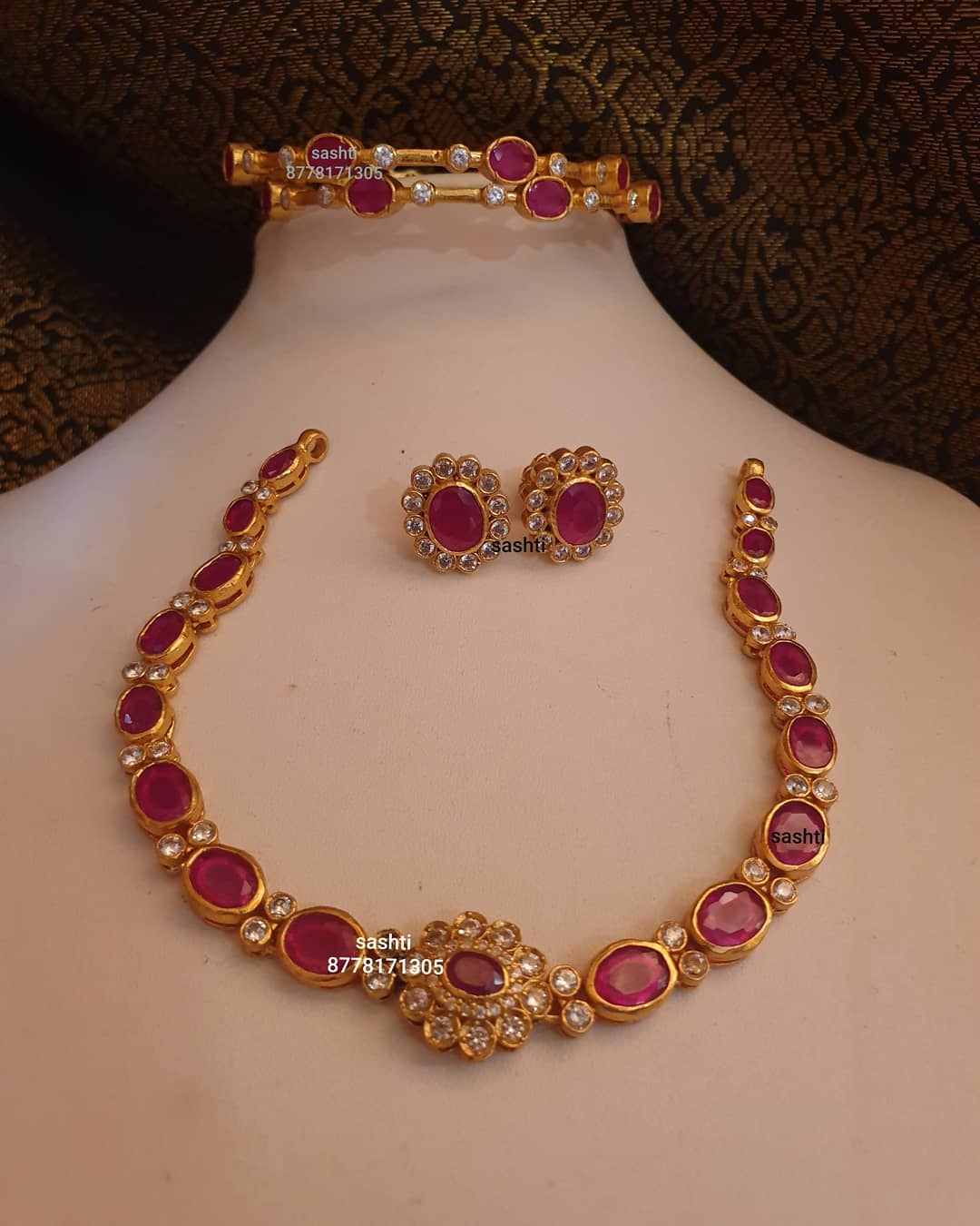 gold-plated-stone-necklace-earrings