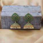 Green Stone Pearl Jhumkas