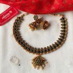 Green Stone Studded Matte Gold Necklace Set