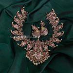Mango Design Kemp Necklace And Jhumkas