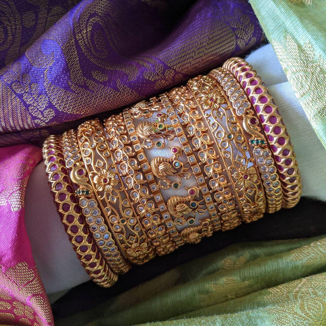 peacock-design-stone-studded-bangles-set