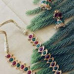 Ruby Emerald Kemp Stone Necklace With Earrings