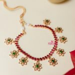 Ruby Floral White Stone Necklace Set Earrings