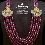 Ruby Gemstone Mala Side Lakshmi Gold Broch