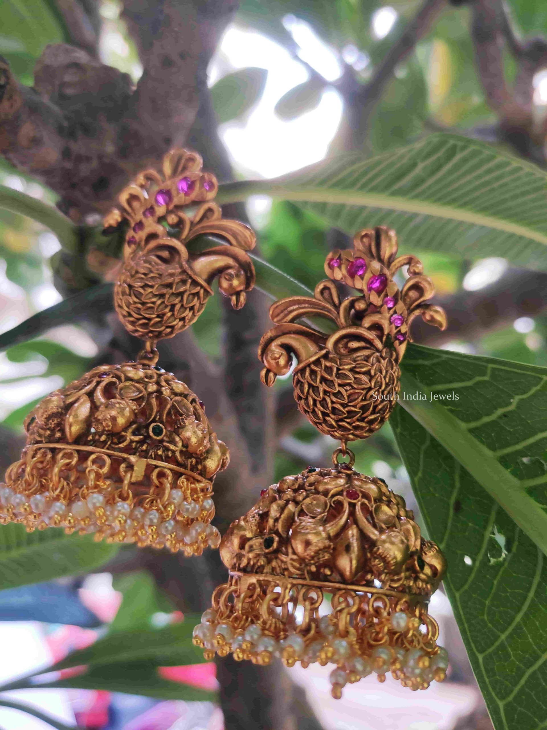 Grand-Matte-Finish-Peacock-Design-Jhumkas-02-scaled