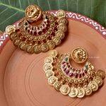 Grand Peacock Design Lakshmi Coin Earrings