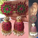 Antique Grand Ruby Red And Green Stones Pearls Jhumka