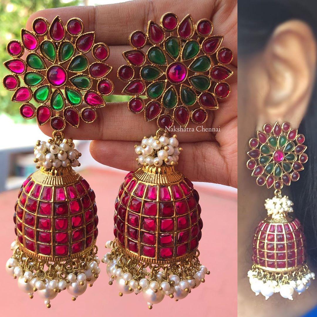 antique-finish-grand-ruby-red-green-stones-pearls-flower-jumkha