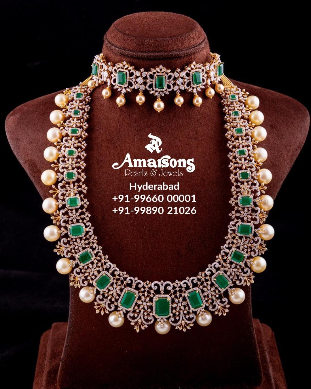 emerald-studded-diamond-choker-long-necklace