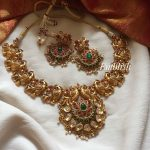 Gold Alike Peacock Ruby Green Necklace Set