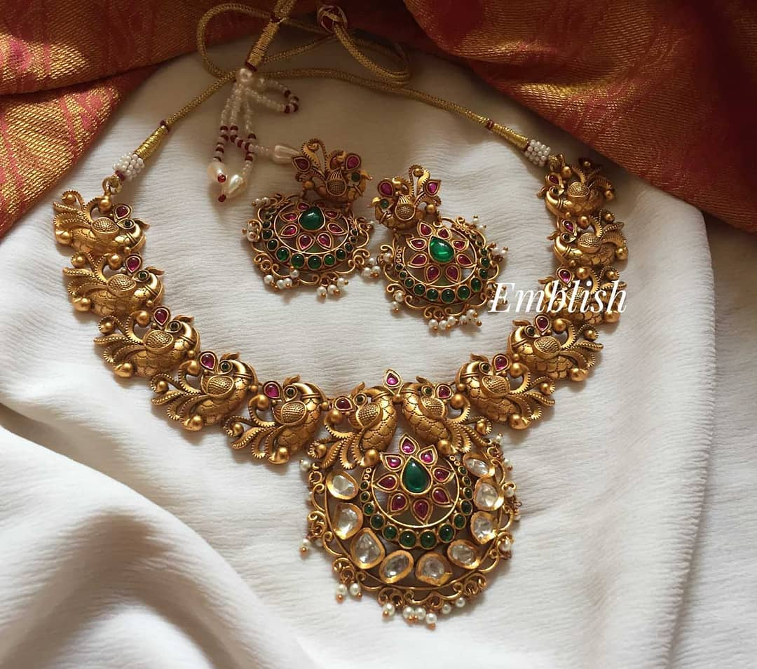 gold-alike-peacock-ruby-green-necklace-set