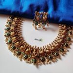 Gold Alike Polish Peacock Laxmi Choker And Earrings