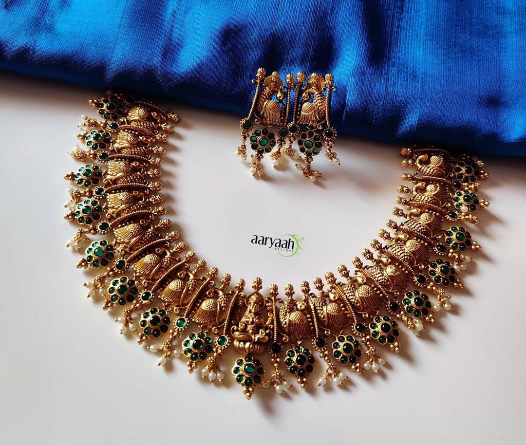 gold-alike-polish-peacock-laxmi-choker