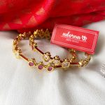 Gold Finish Ruby And White Stone Bangles