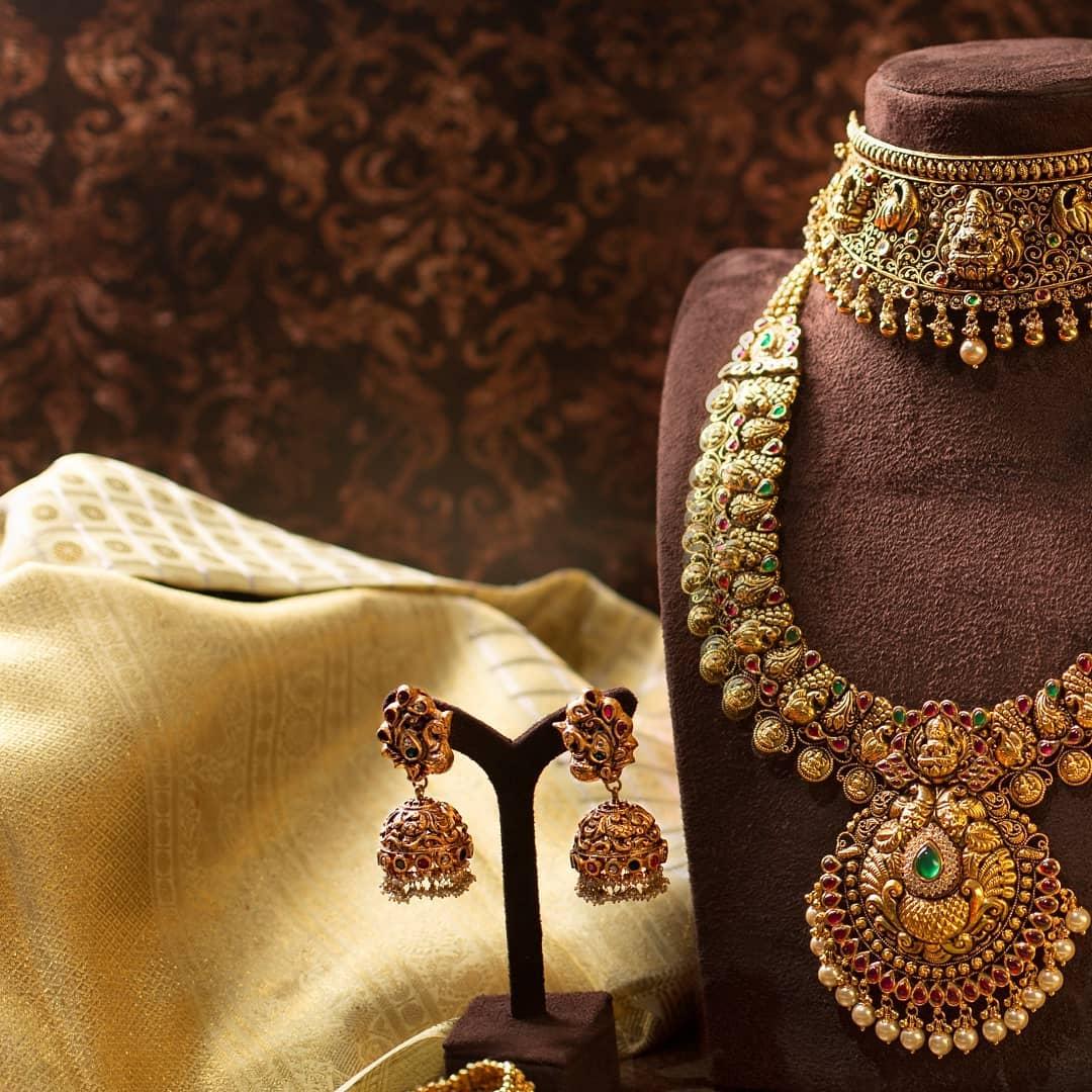 grand-imitation-choker-and-midlength-necklace-jhumkas