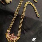 Silver Gold Plated Peacock Gundu Line Haram