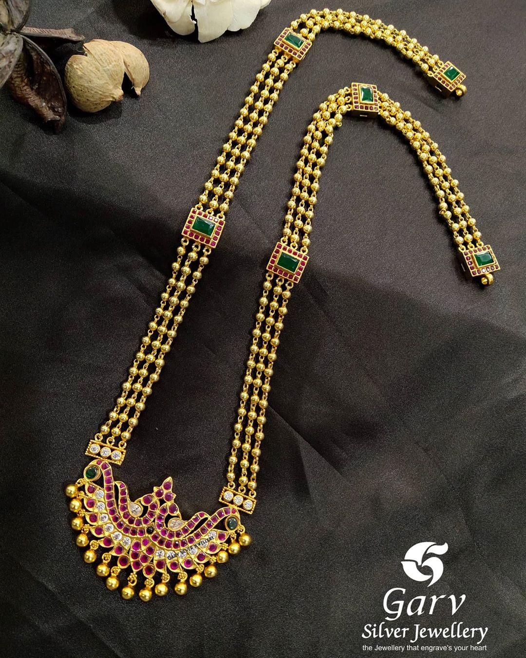 silver-gold-plated-peacock-gundu-line-haram