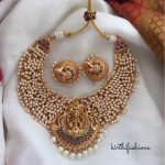 Traditional Cluster Pearl Temple Necklace Set