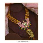 Yellow Bead Kundan Nakshi Silver Necklace