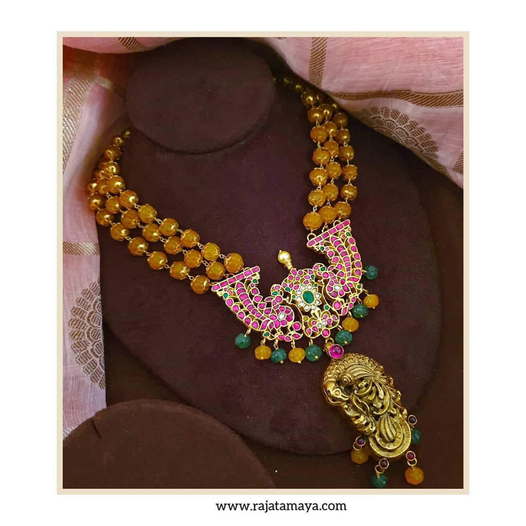 yellow-bead-kundan-nakshi-silver-necklace