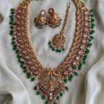 Pure Kemp Gold Finish Laxmi Long Haram Earrings And Tika