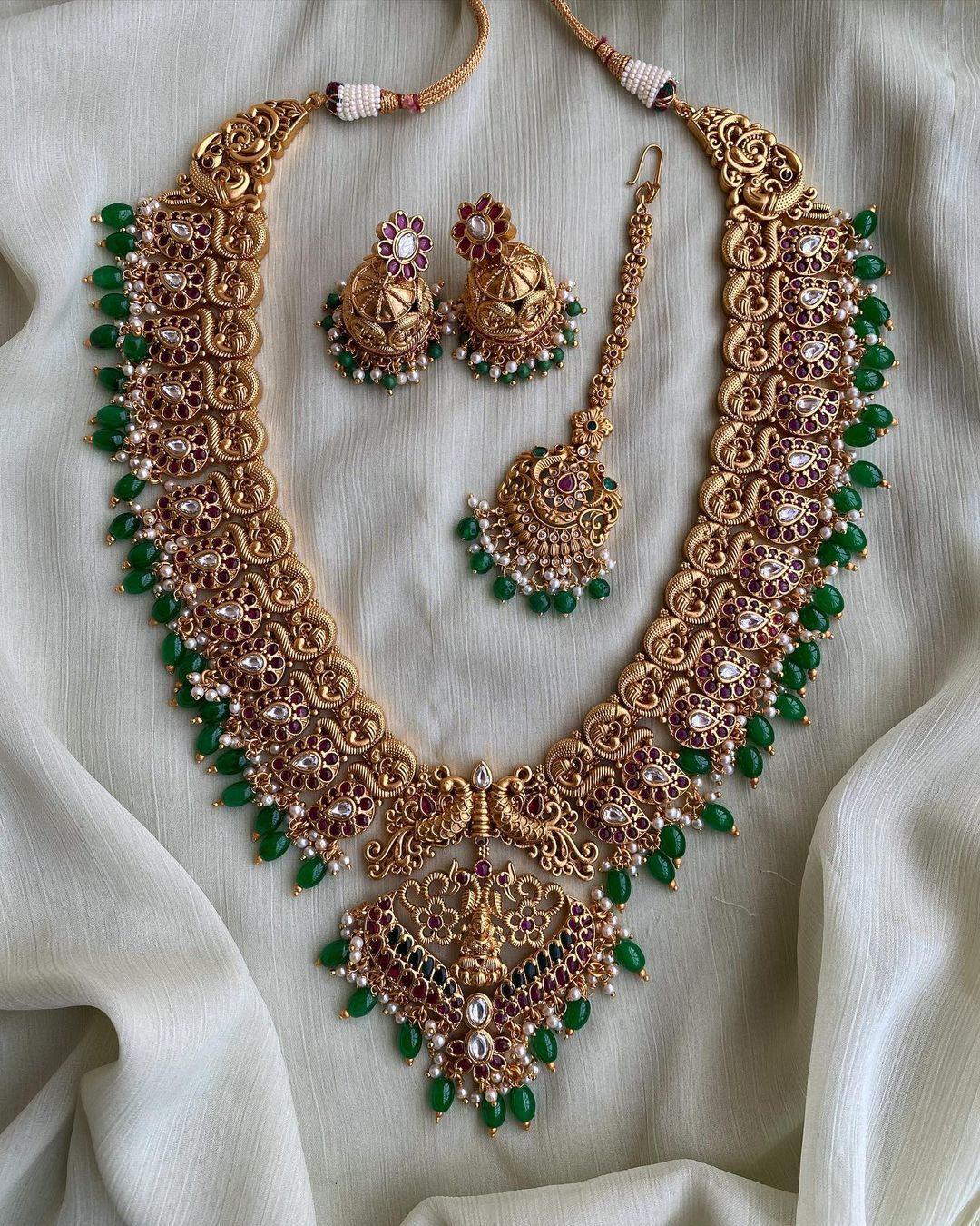bridal-pure-kemp-gold-finish-laxmi-long-haram-earrings-teeka