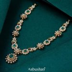 Diamond Necklace With Green Stones