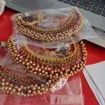 Gold Like Cluster Pearls Necklaces