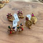 Gold Plated Semiprecious Stones Stud Earrings