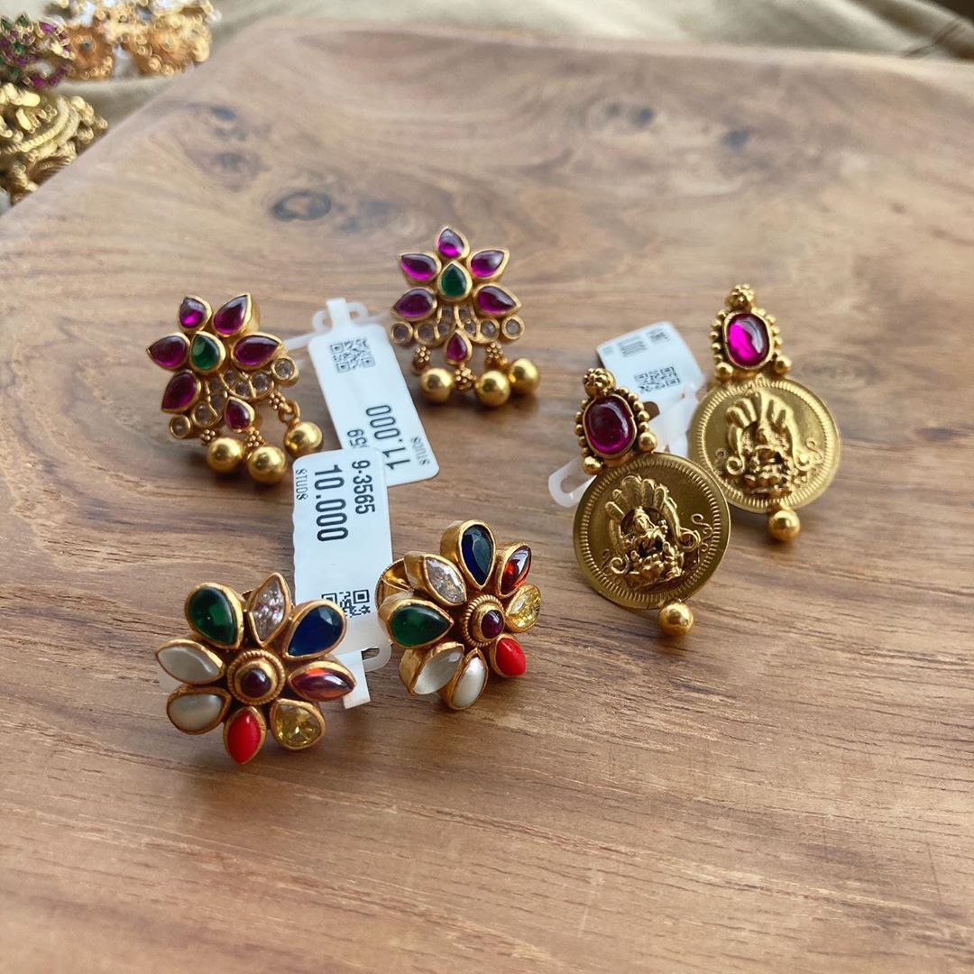 gold-plated-semiprecious-stones-stud-earrings