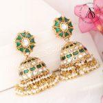 Semi Precious Kundan Navarathanas Gold Plated Silver Jhumkas