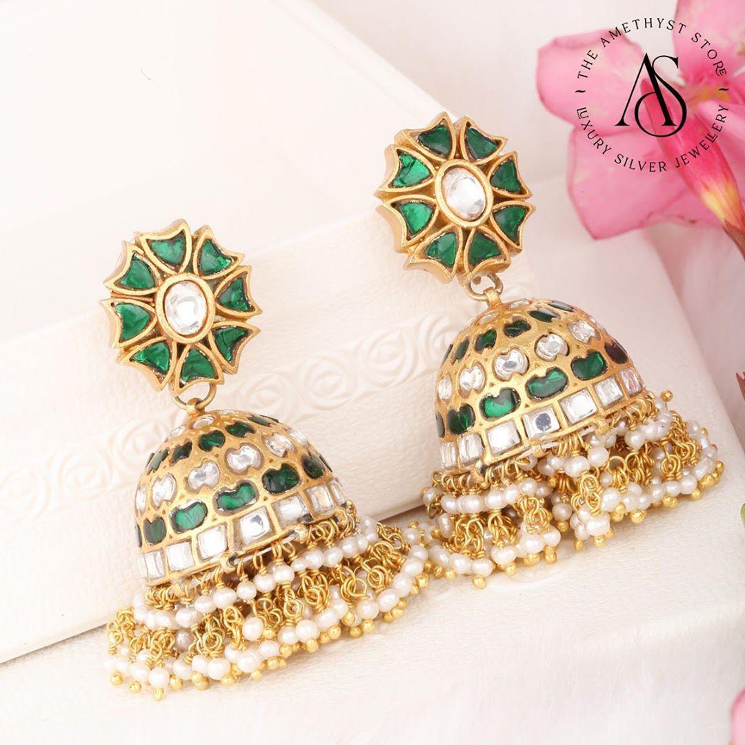 semi-precious-kundan-navarathanas-gold-plated-silver-jhumkas